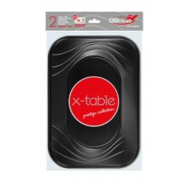 """Bandeja Plastico PP """"X-Table"""" Preto 330x230mm (2 Unidades)"""