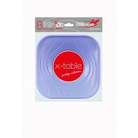 "Prato Plastico PP ""X-Table"" Quadrado Raso Violeta 180mm (120 Unidades)"
