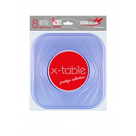 "Prato Plastico PP ""X-Table"" Quadrado Raso Violeta 230mm (120 Unidades)"