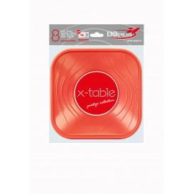 """Prato Plastico PP """"X-Table"""" Quadrado Raso Laranja 180mm (120 Unidades)"""