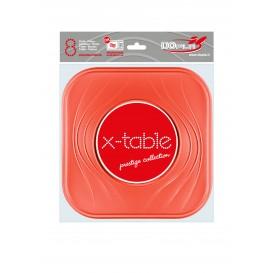 """Prato Plastico PP """"X-Table"""" Quadrado Raso Laranja 230mm (120 Unidades)"""