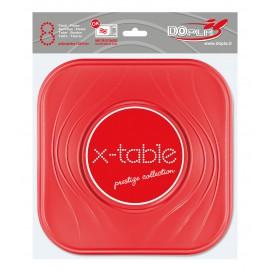 "Prato Plastico PP ""X-Table"" Quadrado Raso Vermelho 230mm (8 Unidades)"
