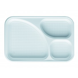 Bandeja de Plastico PS Branco 3C 315x210mm (100 Uds)