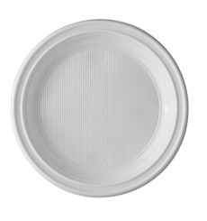 Prato Plastico Raso PS Branco 205 mm (25 Unidades)