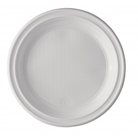 Prato Plastico PS Raso Branco 220mm (100 Unidades)