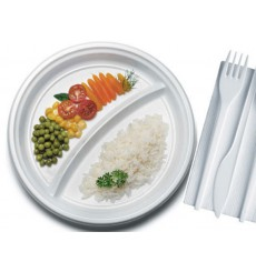 Prato Plastico Branco PS 220 mm (100 Unidades)