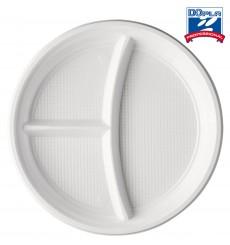 Prato Plastico 2 Compar. Branco PS 220mm (100 Unidades)