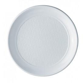 Prato Plastico PS Raso Branco 250mm (100 Unidades)