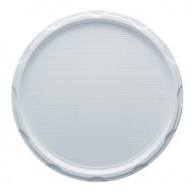Prato Plástico PS Pizza  PS Branco 320mm (100 Unidades)