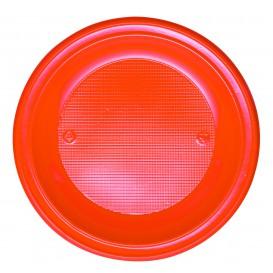 Prato Plastico PS Fundo Laranja Ø220 mm (30 Unidades)