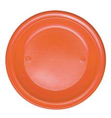 Prato Plastico PS Fundo Laranja Ø220mm (30 Unidades)