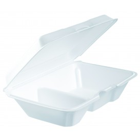 Embalagem Foam LunchBox 2 C. Branco 230x160mm (200 Uds)