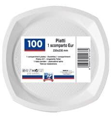 Prato Plastico PS Raso Branco 200x200mm (100 Unidades)