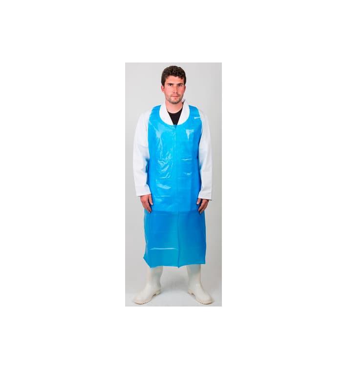 Avental Polietileno 76x120cm 25 Micron Azul (100 Uds)