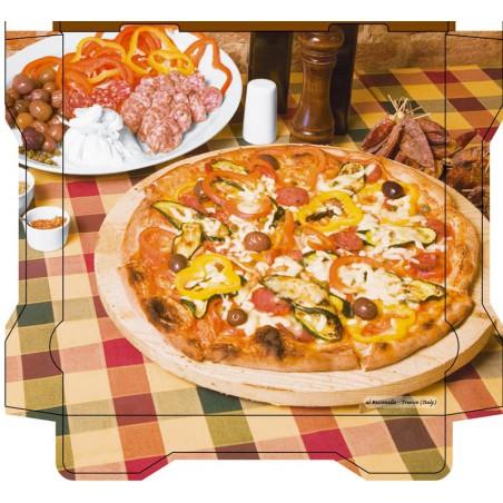 Caixa Cartão Pizza Al Bassanello Tavola 30x30x4,2 cm (100 Uds)