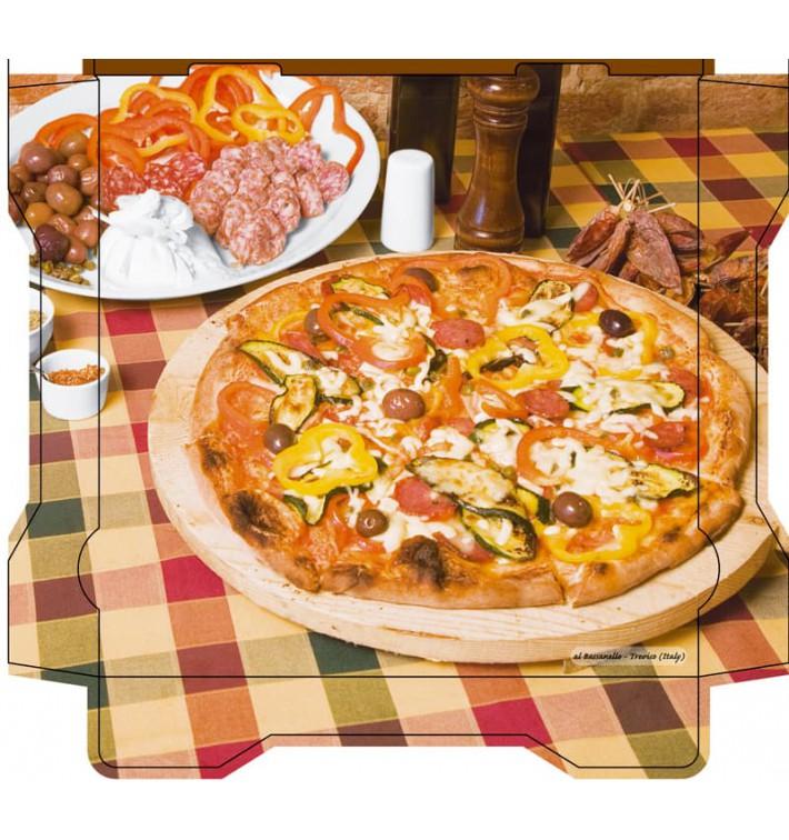 Caixa Cartão Pizza Al Bassanello Tavola 26x26x4,2 cm (100 Uds)