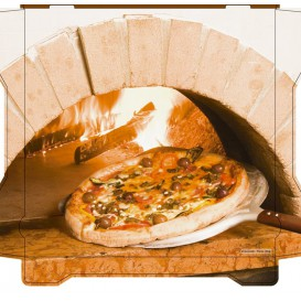 Caixa Cartão Pizza Al Bassanello Forno 33x33x4,2 cm (100 Uds)