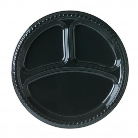 Prato Plastico Party Raso PS Preto 3C Ø260 mm (500 Unidades)