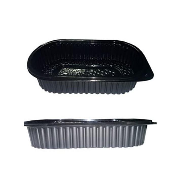 Embalagem Plástico Rectangular 1000ml Negro (100 Uds)