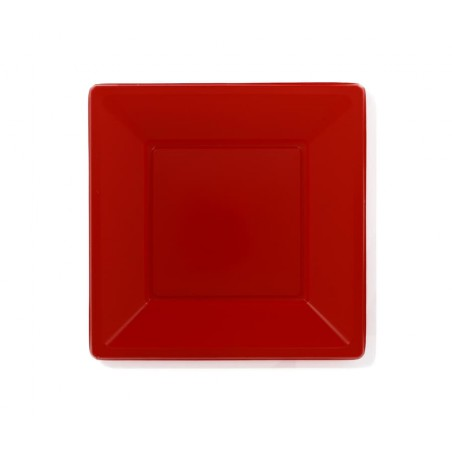 Prato Raso Quadrado Plástico Vermelho 170mm (25 Uds)