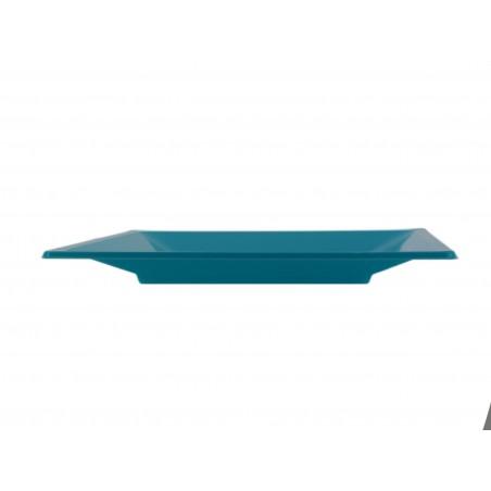 Prato Raso Quadrado Plástico Turquesa 170mm (25 Uds)