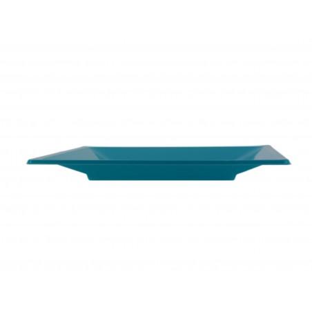 Prato Raso Quadrado Plastico Turquesa 230mm (25 Uds)