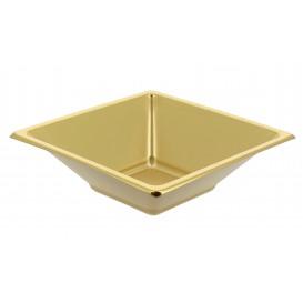 Tigela de Plastico PS Quadrada Ouro 12x12cm (25 Uds)