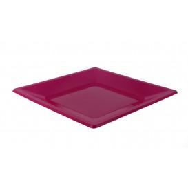 Prato Raso Quadrado Plástico Fúcsia 170mm (25 Uds)