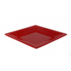 Prato Raso Quadrado Plástico Vermelho 230mm (25 Uds)