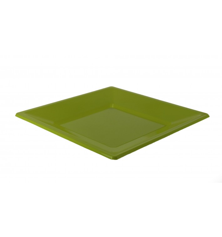 Prato Raso Quadrado Plastico Pistache 170 mm (5 Uds)