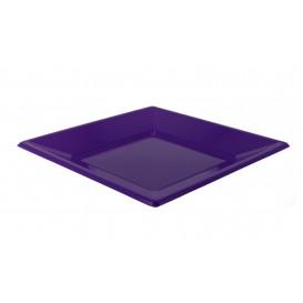 Prato Raso Quadrado Plástico Lilás 230mm (25 Uds)