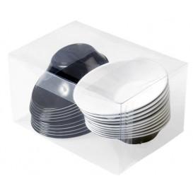 """Tigela Plastico """"Sodo"""" em preto e branco 50 ml (20 Uds)"""