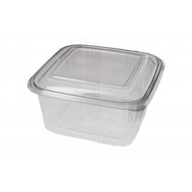 Embalagem Plastico Quadrado Tampa Bisagra PET 1000ml (100 Uds)