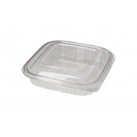 Embalagem Plastico Quadrado Tampa Bisagra PET 250ml (100 Uds)