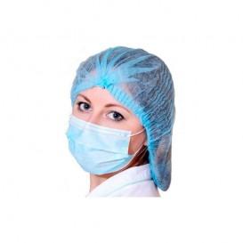 Touca de Polipropileno Acordeão Azul 1 elástico Ø53cm (100 Uds)