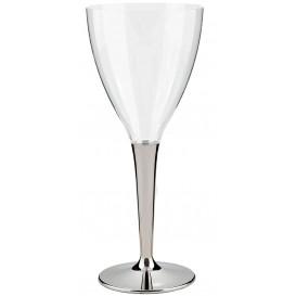 Copo Plastico Vinho Pé Prata 130 ml (10 Unidades)