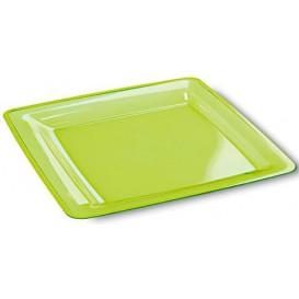 Prato Plástico Rigido Quadrado Verde 18x18 (6 Uds)