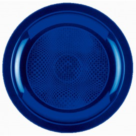 Prato Plastico Raso Azul Round PP Ø185mm (600 Uds)