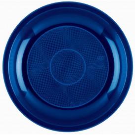 Prato Plastico Raso Azul Round PP Ø220mm (50 Uds)