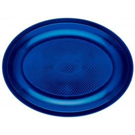 Bandeja de Plastico Oval Azul Round PP 255x190mm (50 Uds)