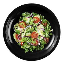 Prato Plastico Raso Preto Round PP Ø220mm (50 Uds)