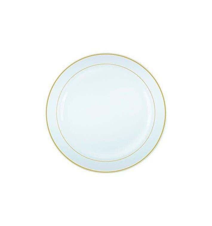 Prato Plástico Rigido Bordo Ouro 15 cm (20 Uds)