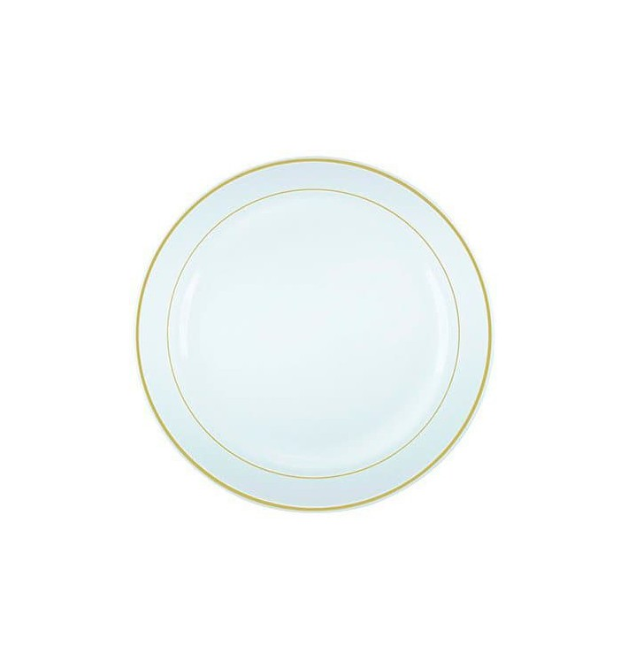 Prato Plástico Rigido Bordo Ouro 23cm (20 Uds)