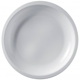 Prato Plastico Raso Branco Round PP Ø220mm (50 Uds)