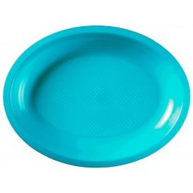 Bandeja de Plastico Oval Turquesa Round PP 255x190mm (600 Uds)
