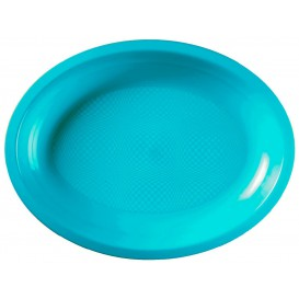 Bandeja de Plastico Oval Turquesa Round PP 315x220mm (25 Uds)