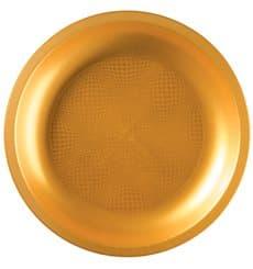 Prato Plastico Raso Ouro Ø220mm (25 Uds)