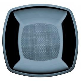 Prato Plastico Raso Preto Square PS 230mm (25 Uds)