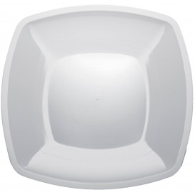 Prato Plastico Raso Branco PS 300mm (12 Uds)