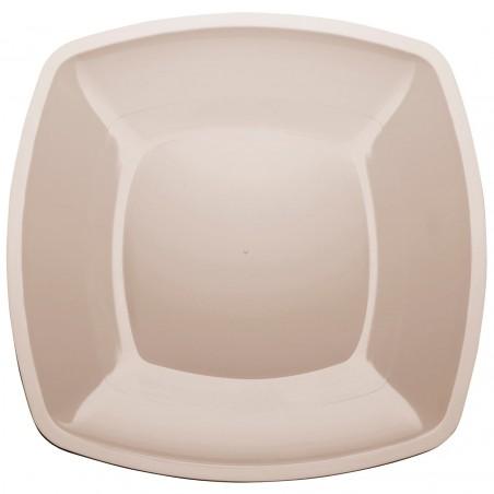 Prato Plastico Raso Bege Square PS 300mm (12 Uds)